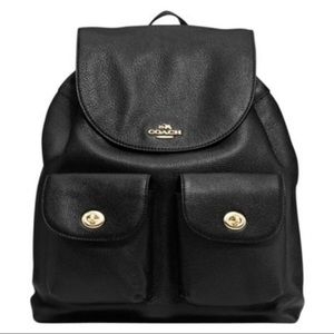 Coach Turnlock Rucksack Pebbled Leather Backpack